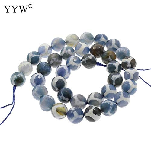 Pukido Natural Tibetan Agates Dzi Beads Round Faceted 10mm Natural Stone Charms Beads Tibetan Jewelry for Necklace Bracelets Making DIY - (Color: 5)