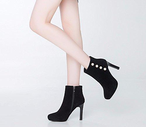 GTVERNH e cuoio gli al tavolo tacco alto scarpe col tacco stivaletti le impermeabile autunno donne degli stivali inverno di black degli stivali rtEnY8wrpq