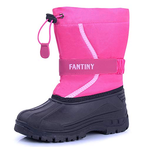 CIOR Fantiny Snow Boots Winter Outdoor Waterproof with Fur Lined for Girls & Boys (Toddler/Little Kid/Big Kid) U118WXZ010,Pink,28 ()