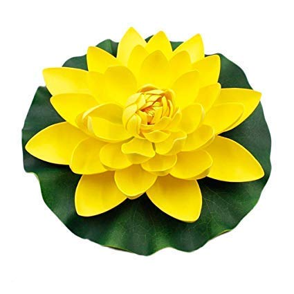 FRP Flowers Floating Lotus Lily Pad - 12 inch Foam Flowers for Ponds, Weddings, Pools, and Garden Decor (Set of 2) (Yellow)