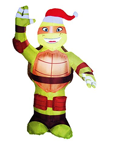 3.5 ft. LED Inflatable Michelangelo with Santa Hat Ninja Turtle Toys For Christmas