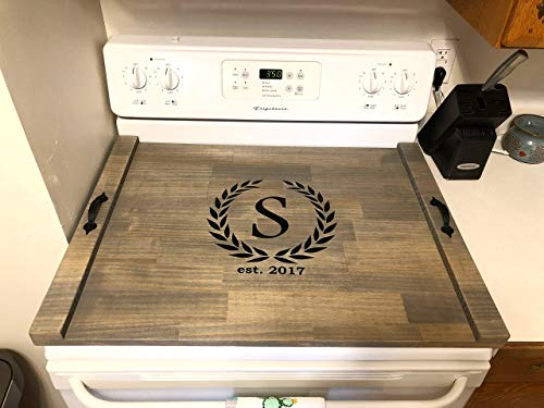 Rustic Stove Top Cover, Wood Tray For Stove, Personalized St
