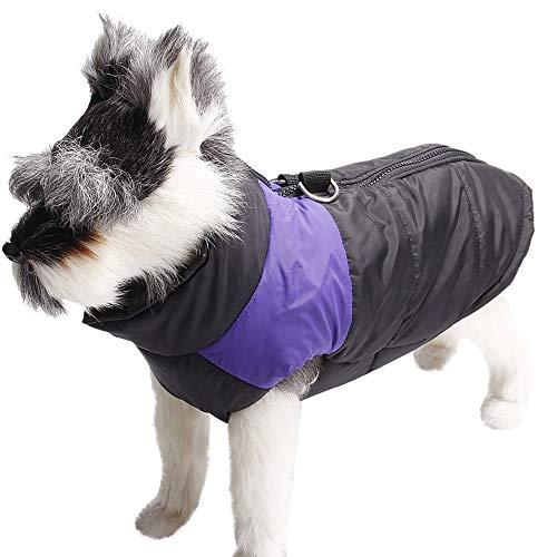 - Elogoog Puppy Costume, Casual Print Warm Thickening Coat Zipper Jacket Vest Dog Winter Apparel (XXL, Purple)