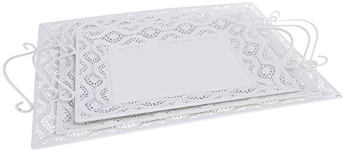 White Crocheted Patterned Breakfast Trays - Carrying Tray with Handles, Perfect for Breakfast in Bed, Serving Drinks at Parties - Large Medium Small - Set of 3 ()