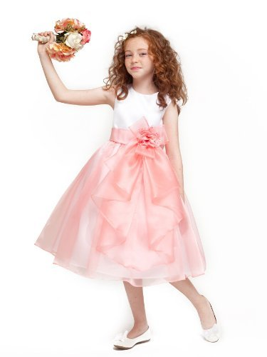 Flower Natural Pink Coral (Girls KID Collection Layered Organza Ruffle Skirt Holiday Christmas Party Flower Girl Dress, Coral, 6)