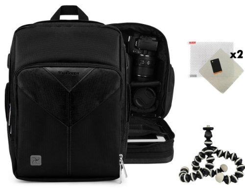 Sparta Travel Nylon Backpack Bag (Jet Black) for Panasonic Lumix FZ47, Lumix FZ70 DSLR Camera and Screen Protector and Mini Tripod