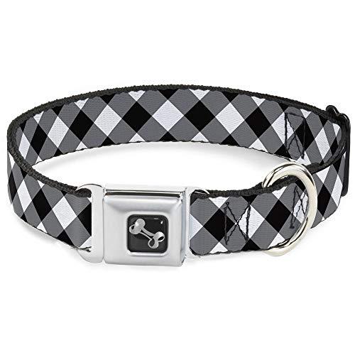 Dog Collar Bone - Diagonal Buffalo Plaid Black/White - Large 15-26