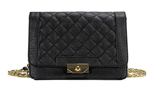 Scarleton Square Quilted Flap Crossbody Bag H196701 - Black (Cross Body Flap Bag)