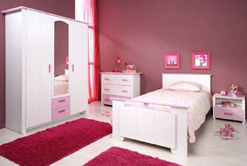 Pharao24 Mädchenzimmer komplett 4-tlg weiß rosa Lilith