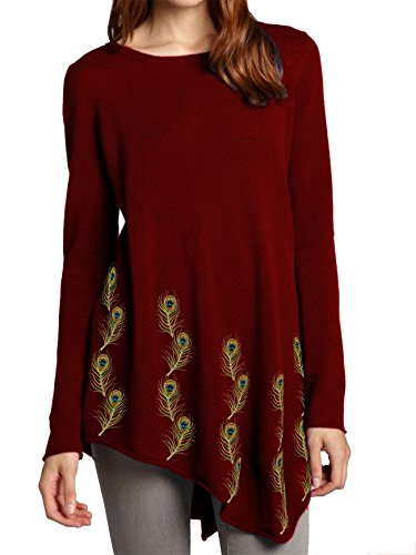 Womens-Peacock-Embroidered-Tunic-with-Angled-Hem-Customizable