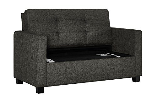 Signature Sleep Devon Sofa Sleeper Bed, Pull Out Couch Design, Includes Premium CertiPUR-US Certified Memory Foam Mattress, Twin Size, Grey Linen
