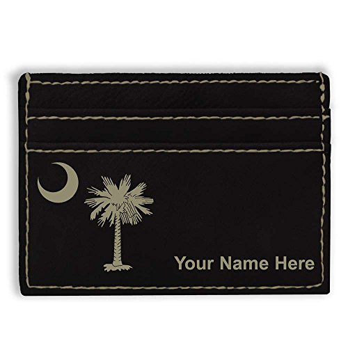Money Clip Wallet, Flag of South Carolina, Personalized Engraving Included (Black) Carolina Leather Money Clip