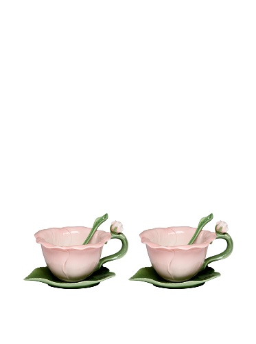 Cg FBA_SS-CG-10395 SS-CG-10395, Pink Hibiscus 6-pc Set with 2 Cups, Saucers and Spoon Collectible,
