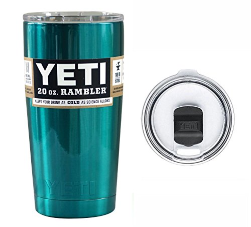 New YETI Coolers 20 Ounce (20oz) (20 oz) Custom Color Powder Coated or Hydro Dipped Rambler Tumbler Travel Cup Mug with New Magslider Spill Proof Lid (Teal Shimmer)