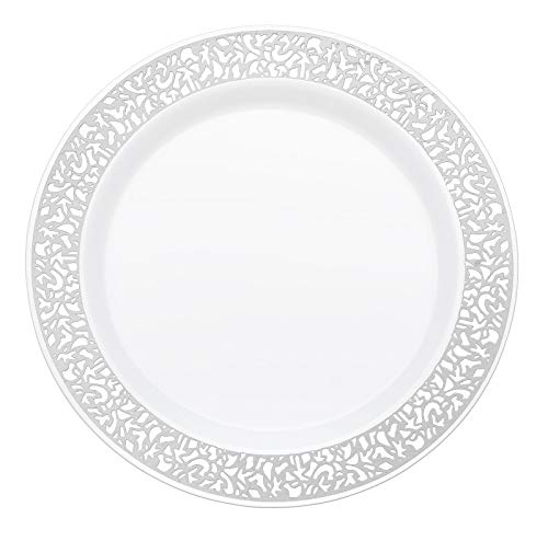 Your Gatherings - 606pc/100 Guest Silver Premium Disposable Wedding Dinnerware Set   100 Dinner Plates, 100 Dessert Plates, 200 Forks, 100 Spoons, 100 Knives, (100 Guest Set, Silver) by Your Gatherings (Image #3)