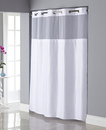 Hookless RBH34MY835 Shiny Texture Herringbone Shower Curtain with Snap-In PEVA Liner - White
