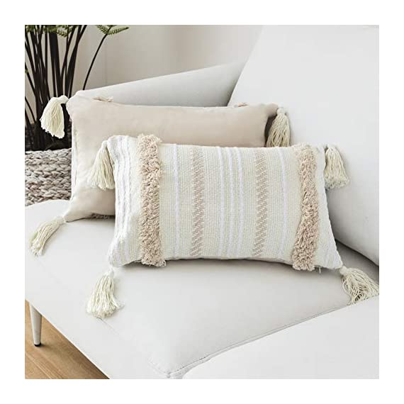 blue page Lumbar Small Decorative Throw Pillow Covers for Couch Sofa Bedroom Living Room, Woven Tufted Boho Pillows Cover with Tassels, Cute Farmhouse Pillows Case (12X20 inch, Yellowy Cream) - ✰ UNIQUE MODERN DESIGN: These pillow covers have a designer look and feel, will stands out in the mix. Fantastic quality will absolutely exceed your expectations. A textile fabric with an interesting and tribal design. Pairs well with Moroccan, Ethnic, Retro and Shabby Chic style decors. Choose only classic colors using weaving, tufting, tassels craftsmanship, warm and comfortable. ✰ FEATURES - The invisible zipper helps easily on and off. Absolutely adorable and nice decorative pillow cover. Thick fabric(weight 0.66 lb), really supports your back well, great design, good quality. The perfect boho looks pillow cover, fits perfectly and adds excellent texture to your collection of throw pillows. ✰ PERFECT GIFT - We offer YOU the best quality and workmanship with these cushion covers. Super cute and very attractive design, these will last you many fun occasions and seasons to come, will also make a PERFECT GIFT for your loved ones during Housewarming, Thanksgiving or Christmas, to decor your living room, bedroom, sofa, couch, car seat, floor, bench, office, a coffee shop, etc. - living-room-soft-furnishings, living-room, decorative-pillows - 41gvoKy7YsL. SS570  -