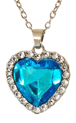 Necklace - Blue Crystal Heart Pendant and Silver Tone Necklace - Kiki's Titanic (Deep Blue Turquoise Pendant)