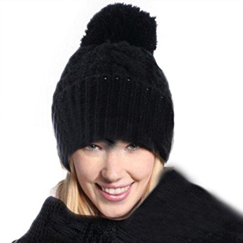 RNTOP Women Warm Woolen Knit Hood Scarf Shawl Caps Hats Suit (Black)