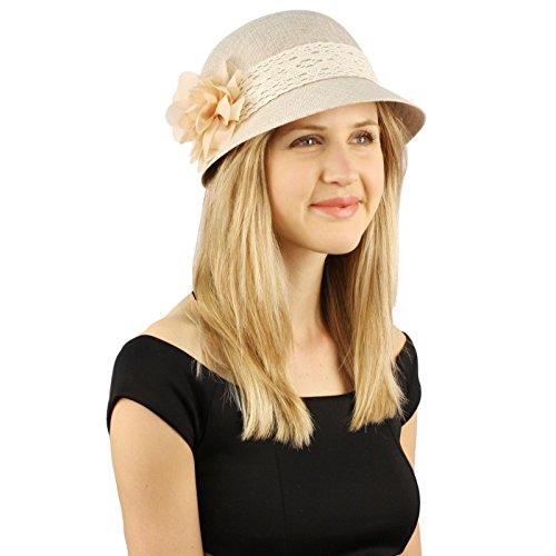Sweet Summer 1920s Floral Lace Ruffle Derby Bucket Bell Cloche Sun Hat Natural (Bell Bucket Hat)