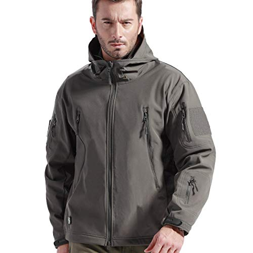 - FREE SOLDIER Tactical Jacket Soft Shell Fleece Lined Water Repellent Coat Windproof Outwear Camouflage Jacket (Gray, XL)