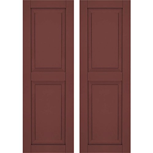 """Price comparison product image Ekena Millwork CWR15X025CRC Exterior Composite Wood Raised Panel Shutters with Installation Brackets (Per Pair),  Cottage Red,  15""""W x 25""""H"""