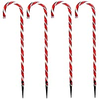 TOOGOO Christmas Pathway Candy Cane Walkway Light 10 Stakes Lamp Outdoor Yard