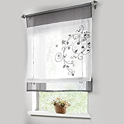 1pcs Sheer Liftable Organza Embroidered Kitchen Curtains Roman Window Shades