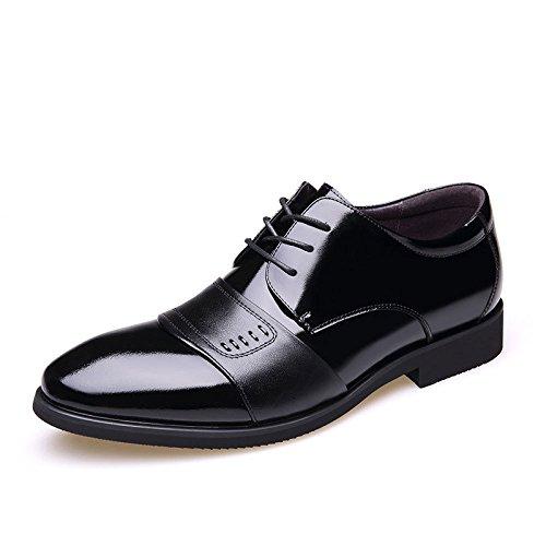 LEDLFIE Hommes Chaussures en Cuir Véritable Affaires Formelles Chaussures de Mariage Black2