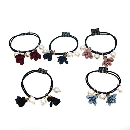 Monrocco 12 Pack Pearls Flower Hair Accessories Elastic Hair Ties Hair Ring Ponytail Holder with Pearl Flower Charm Hairbands for Women (Elastic Pearl Ring)