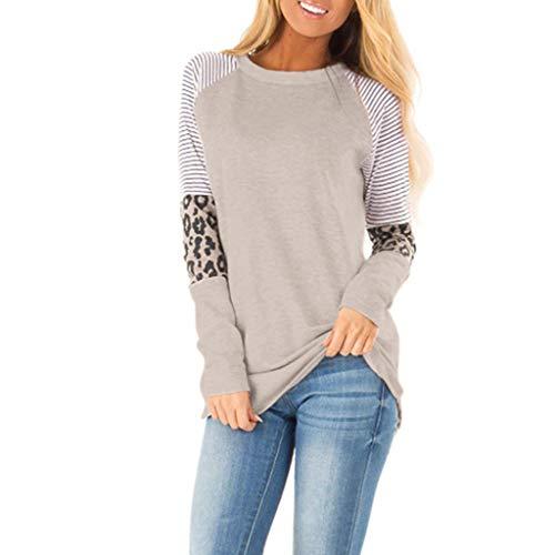 ANJUNIE Women Casual T Shirt Leopard Printing Patchwork Long Half Sleeve Tank Top Pullover Sweatshirt(Khaki,L)