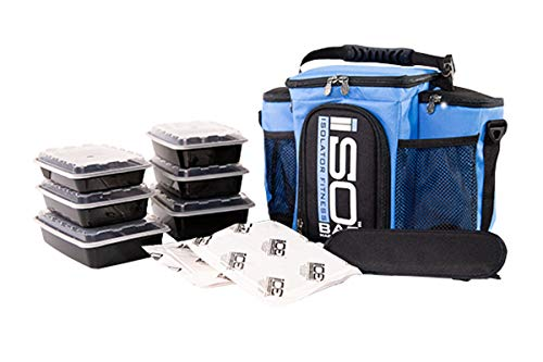 Isolator Fitness 3 Meal ISOBAG Meal Prep Management Insulated Lunch Bag Cooler with 6 Stackable Meal Prep Containers, 2 ISOBRICKS, and Shoulder Strap - MADE IN USA (Light Blue/Black)