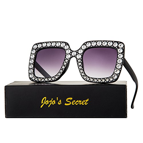 JOJO'S SECRET Crystal Brand Designer Retro Oversized Square Sunglasses For Women JS001 (Black/Grey, - Crystal Sunglasses Frame