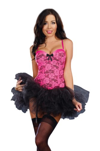 Dreamgirl Rave and Roses Bustier, Neon Pink, 36