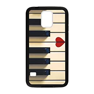 Samsung Galaxy S5 Case,Vintage Retro Piano Keys And Red Heart High Definition Fantastic Design Cover With Hign Quality Rubber Plastic Protection Case by runtopwell
