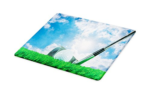Lunarable Sports Cutting Board, Golf Ball and Iron Club on Grass and Cloudy Sky Sunny Summer Day Practicing, Decorative Tempered Glass Cutting and Serving Board, Small Size, Green Blue ()