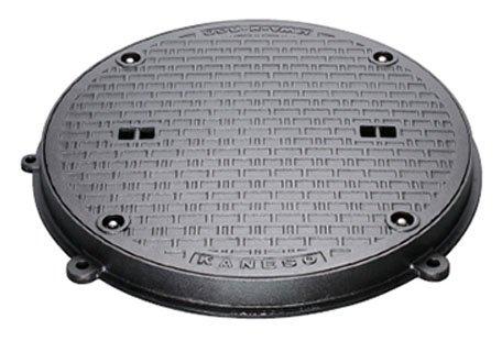 カネソウ マンホール鉄蓋 ボルトロック式 密閉形(防水防臭形) T-2 呼称450 鎖付 MWA-2-MARU-450b B079DJWLD6 25971
