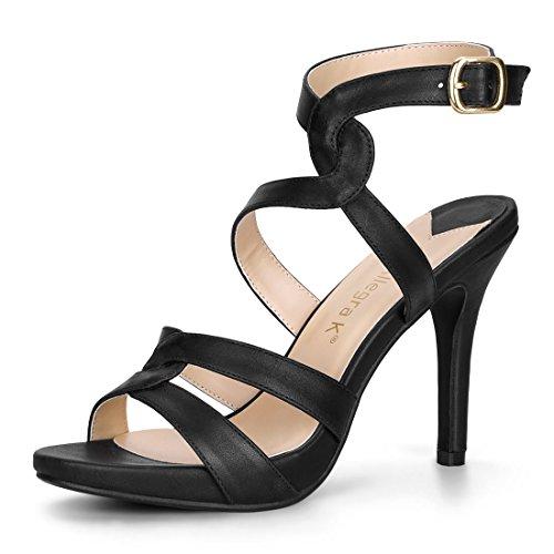 Allegra K Women's Strappy Stiletto Slingback Black Sandals - 8 M