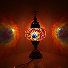 Multicolor Handmade Turkish Moroccan Ottoman Style Mosaic Table Lamp with Large Size Globe