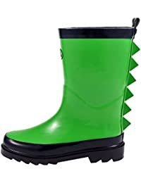 Toddler Kids Boys Rain Boots Rubber Waterproof Shoes Yellow Shark Fin in Solid Color for Little Big Kids