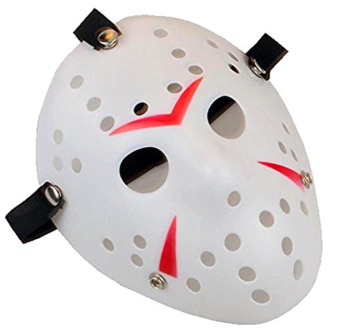 Scary Horror Movie Hockey Goalie Halloween Mask White]()