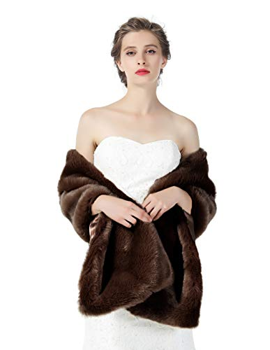 Faux fur Shawl Wrap for Wedding Women Shrug Bridal Stole Winter Cover Up Bridesmaids Cape S76 Brown