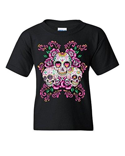 3 Sugar Skulls Youth T-Shirt Dia de Los Muertos Roses Day of The Dead Kids Tee Black M -