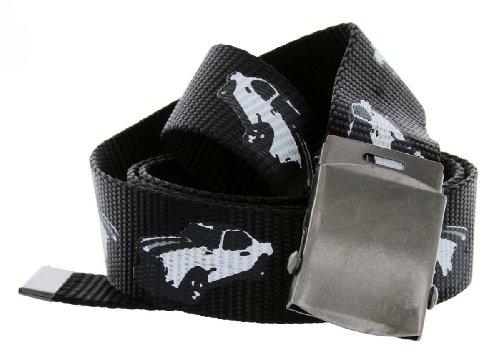 Canvas Military Web Punk Classic Muscle Car Belt 1.25 Inch Wide Black (Black)