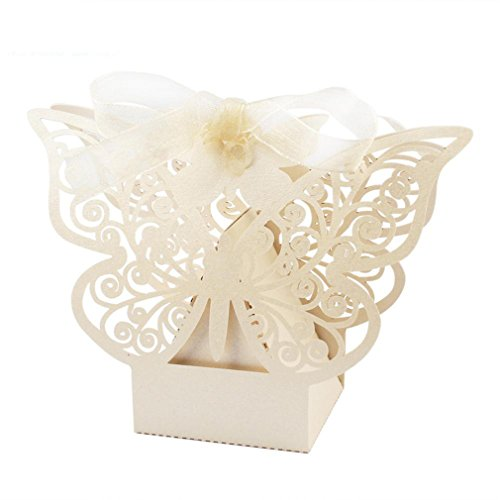 10Pcs Cute Paper Candy Box Wedding Favors Gift Box Chocolate Box For Guests Party Supplies Wedding Decoration (Aqua Butterfly Kisses)