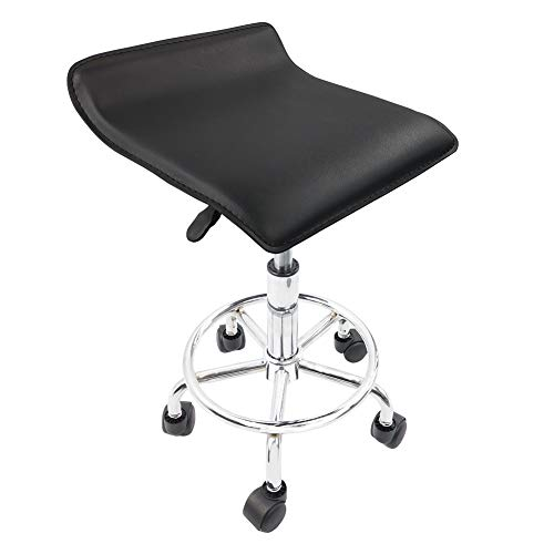 KKTONER Square Height Adjustable Rolling Stool with Foot Rest PU Leather Seat Cushion Medical Spa Drafting Salon Tattoo Work Swivel Office Stools Task Chair Black