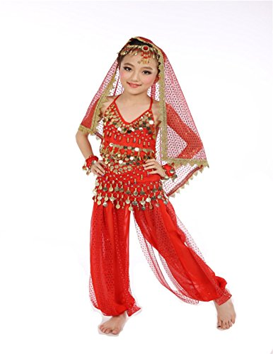 YYCRAFT Girls Belly Dance Top Pants Outfit Halloween Dressing Party Costume Set ()