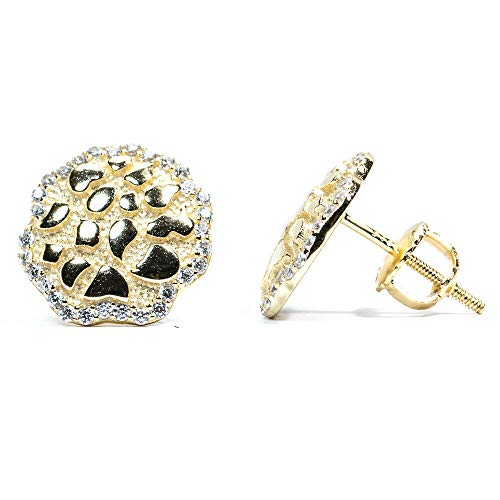 Arb Market Iced Round Small 14K Gold Hip Hop Stud Diamond Cut Solid Nugget Earrings Wonderful For Mom, Dad, Friends, Wedding, Birthday, Anniversary, Valentines Day Gift Choice Women And Men (Gold)