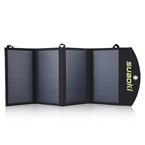 Suaoki Universal Portable 25W Solar Panel Phone Charger with Dual USB Port and Sunpower Mono-crystalline Charging TIR-C Technology (Solar Panel Macbook Charger compare prices)