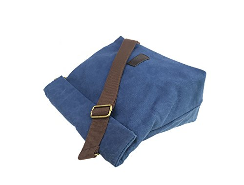 Canvas Shoulder Bag Classic Cross body Sling Bag Messenger Bag for Daily Using Etc Blue by lxctory (Image #2)